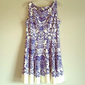 Gabby Skye Fit Flare A-line Scuba Sleeveless Dress